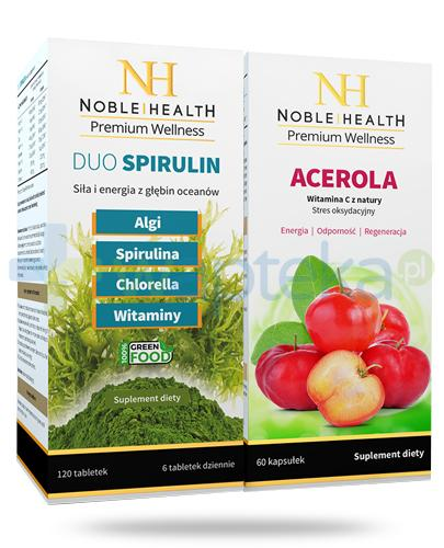 Noble Health Acerola 60 kapsułek + Noble Health Duo Spirulin 120 tabletek [ZESTAW]