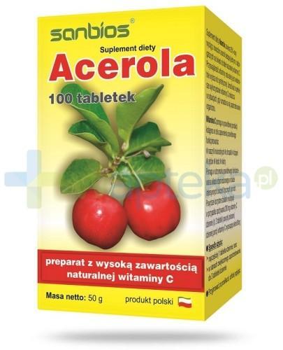 Acerola - naturalna witamina C 100 tabletek Sanbios