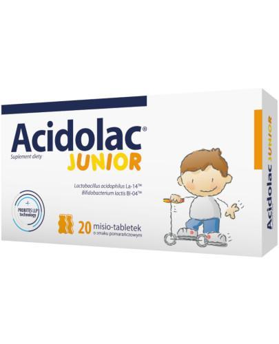 Acidolac Junior o smaku pomarańczowym 20 misio-tabletek  [Data ważności 30-09-2020]
