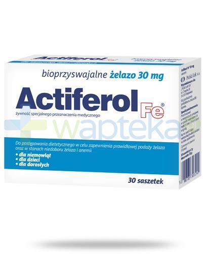Actiferol Fe bioprzyswajalne żelazo 30mg 30 saszetek