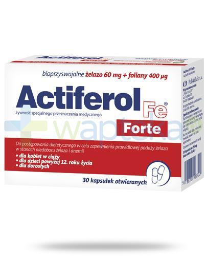 Actiferol Fe Forte bioprzyswajalne żelazo 60mg + 400µg 30 kapsułek