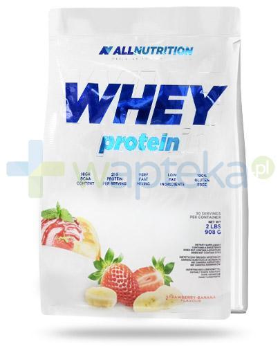 Allnutrition Whey Protein Strawberry Banana odżywka wysokobiałkowa o smaku truskawko bananowym 908 g [białko]