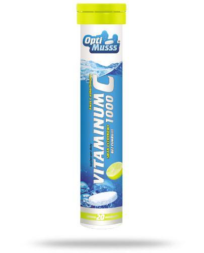 AMS OptiMusss Vitaminum C 1000 smak cytrynowy bez cukru 20 tabletek musujących
