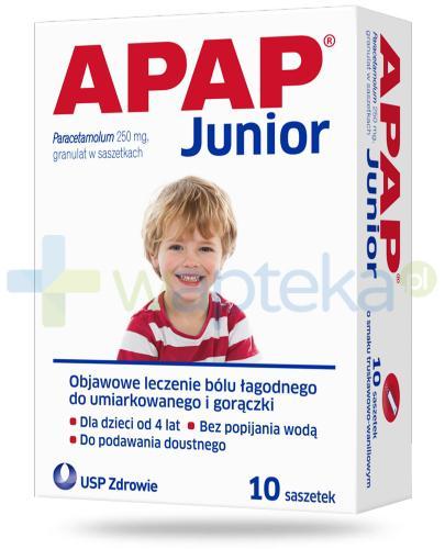 Apap Junior o smaku truskawkowo-waniliowym 10 saszetek
