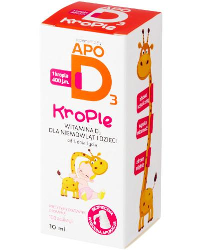 Apo D3 krople 400j.m. witamina D3 dla niemowląt i dzieci 0+ 10 ml