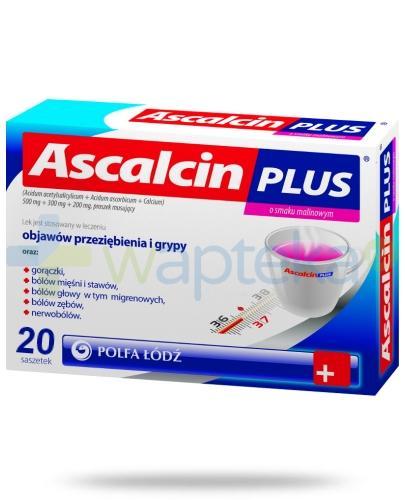 Ascalcin Plus smak malinowy 20 saszetek