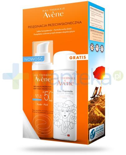 Avene Sun SPF50+ fluid 50 ml + Avene woda termalna 50 ml [ZESTAW]
