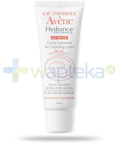 Avene Hydrance Optimale UV Riche Krem nawilżający SPF20 do skóry wrażliwej i suchej 40 ml + Avene pianka oczyszczająca 50ml [GRATIS]