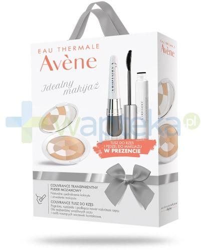 Avene Idealny makijaż ZESTAW Couvrance puder transparentny mozaikowy 9 g + Avene Couvrance tusz do rzęs o wysokiej tolerancji 3 ml