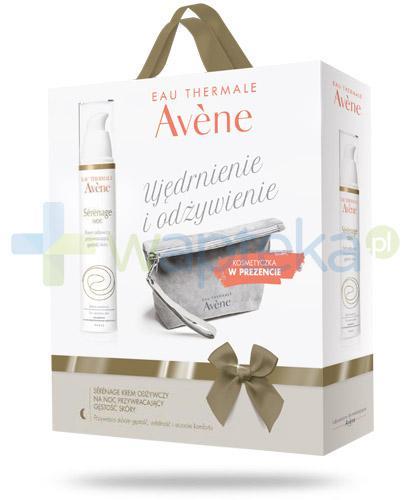 Avene Serenage krem odżywczy przywracający gęstość skóry na noc 40 ml + kosmetyczka [ZESTAW]
