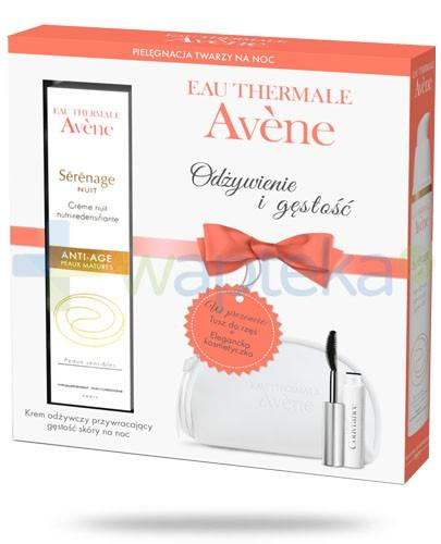 Avene Serenage krem odżywczy na noc 40 ml + tusz do rzęs wysoka tolerancja + kosmetyczka