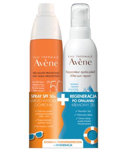 Avene Spray SPF 50+ 200 ml + Avene kremowy żel Regeneracja po opalaniu 200 ml [ZESTAW] - wapteka.pl