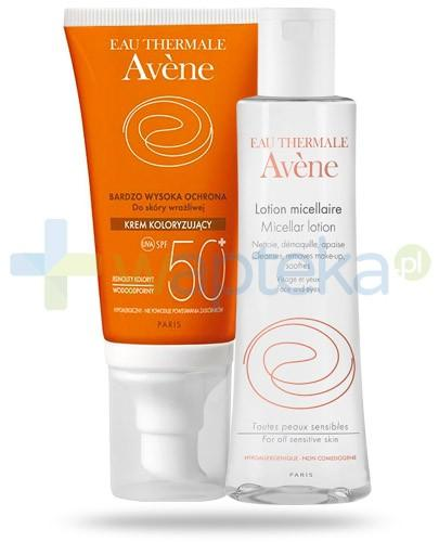 Avene Sun Krem koloryzujący SPF50+ dla skóry wrażliwej 50 ml + Avene Płyn micelarny 100 ml