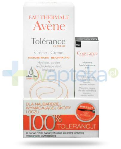 Avene Tolerance Extreme bogaty krem kojąco-nawilżający 50 ml + Avene Couvrance tusz do rzęs wysoka tolerancja czarny 3 ml [ZESTAW]