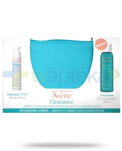 Avene TriAcneal Expert emulsja 30 ml + Cleanance żel oczyszczający 100 ml + kosmetyczka [ZESTAW]