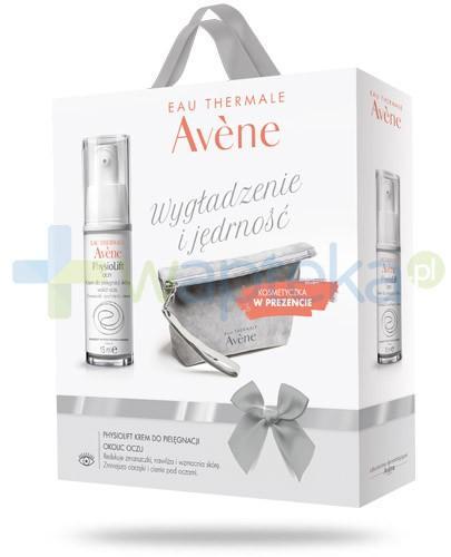 Avene Wygładzenie i jędrność ZESTAW Physiolift Oczy krem do pielęgnacji skóry wokół oczu 15 ml + kosmetyczka