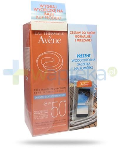 Avene ZESTAW emulsja SPF50+ skóra normalna i mieszana 50 ml + wodoodporne etui na komórkę