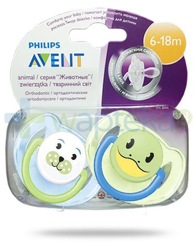 Avent Philips Animal smoczek gryzak silikonowy ortodontyczny dla dzieci 6-18m 2 sztuki [SCF182/24]
