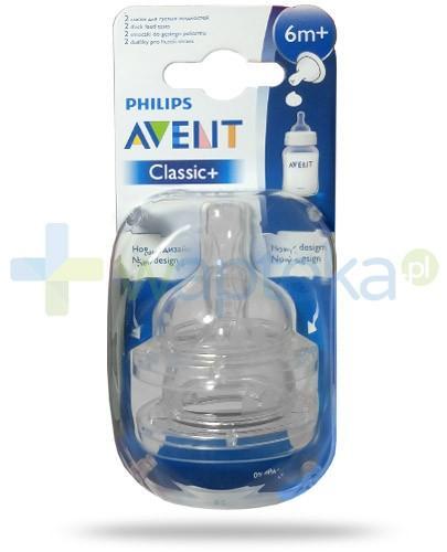 Avent Philips Classic+ smoczek do gęstego pokarmu dla dzieci 6m+ 2 sztuki [636/27]