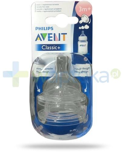Avent Philips Classic+ smoczek o regulowanym wypływie dla dzieci 3m+ 2 sztuki [SCF635/27]