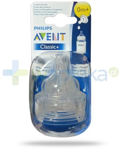 Avent Philips Classic+ smoczek o wolnym wypływie dla dzieci 0m+ 2 sztuki [SCF631/27]