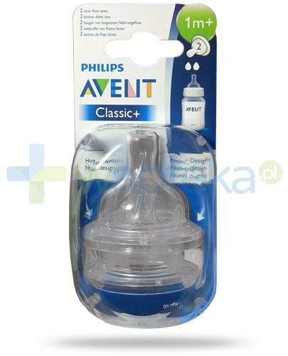 Avent Philips Classic+ smoczek o wolnym wypływie dla dzieci 1m+ 2 sztuki [632/27]