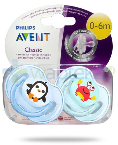Avent Philips Classic smoczek silikonowy ortodontyczny dla dzieci 0-6m 2 sztuki [SCF169/35]