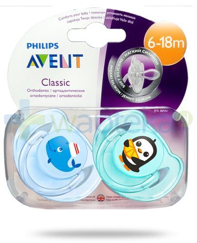 Avent Philips Classic smoczek silikonowy ortodontyczny dla dzieci 6-18m 2 sztuki [SCF169/37]