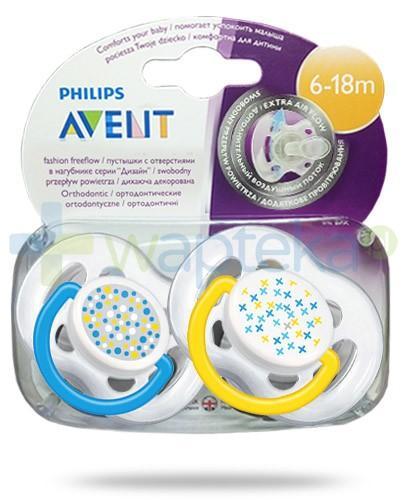 Avent Fashion FreeFlow smoczek gryzak silikonowy ortodontyczny o swobodnym przepływie powietrza dla dzieci 6-18m 2 sztuki [180/24]