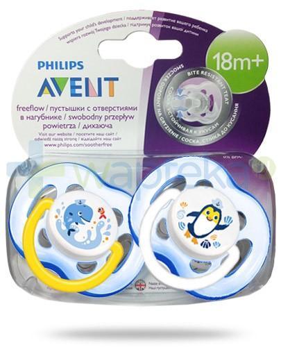 Avent Philips FreeFlow smoczek gryzak silikonowy ortodontyczny odporny na gryzienie dla dzieci 18m+ 2 sztuki [SCF186/24]