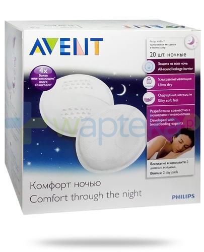 Avent Philips jednorazowe wkładki laktacyjne na noc 20 sztuk [SCF253/20]