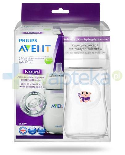 Avent Philips Natural butelka dla niemowląt 260 ml ze smoczkiem dla dzieci 1m+ [693/17] + butelka 260 ml Chef [ZESTAW]