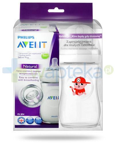 Avent Philips Natural butelka dla niemowląt 260 ml ze smoczkiem dla dzieci 1m+ [693/17] + butelka 260 ml Fireman [ZESTAW]