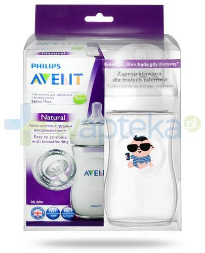 Avent Philips Natural butelka dla niemowląt 260 ml ze smoczkiem dla dzieci 1m+ [693/17] + butelka 260 ml Millionaire [ZESTAW]
