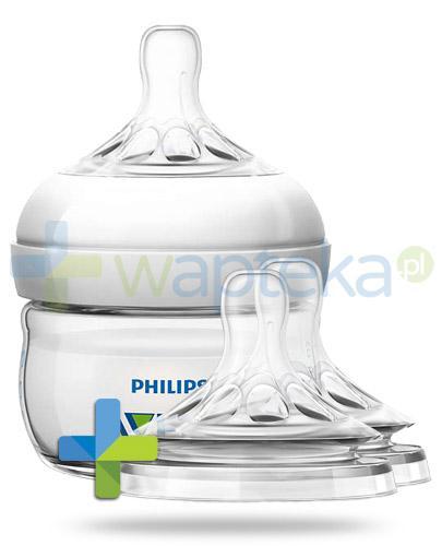 Avent Natural butelka dla niemowląt 60 ml ze smoczkiem dla niemowląt 0m+ [699/17] + Avent Natural smoczek silikonowy do pierwszych karmień dla dzieci 0m+ 2 sztuki [657/27] [ZESTAW]