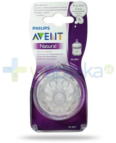 Avent Philips Natural smoczek silikonowy do pierwszych karmień dla dzieci 0m+ 2 sztuki [SCF657/27]