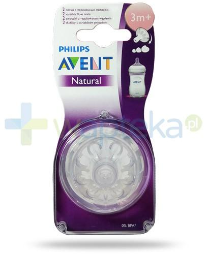 Avent Philips Natural smoczek silikonowy o regulowanym wypływie dla dzieci 3m+ 2 sztuki [SCF655/27]