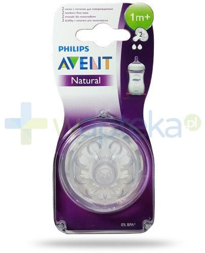 Avent Philips Natural smoczek silikonowy o wolnym wypływie dla dzieci 1m+ 2 sztuki [SCF652/27]