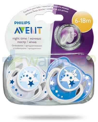 Avent Philips Night smoczek gryzak silikonowy ortodontyczny świecący w nocy dla dzieci 6-18m 2 sztuki [SCF176/22]