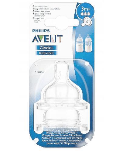 Avent Philips Classic+ smoczek o średnim wypływie dla dzieci 3m+ 2 sztuki [SCF633/27]