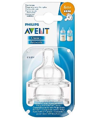 Avent Philips Classic+ smoczek o szybkim wypływie dla dzieci 6m+ 2 sztuki [SCF634/27]