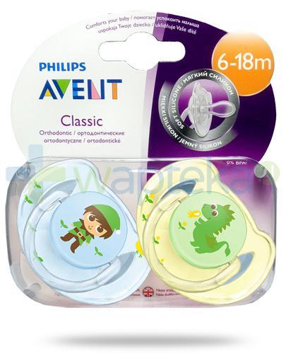 Avent Philips Classic smoczek silikonowy ortodontyczny dla dzieci 6-18m 2 sztuki [SCF169/44]
