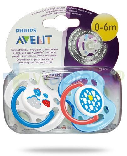 Avent Philips Fashion FreeFlow smoczek gryzak silikonowy ortodontyczny o swobodnym przepływie powietrza dla dzieci 0-6m 2 sztuki [SCF172/18]