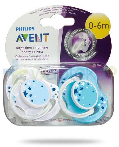 Avent Philips Night smoczek gryzak silikonowy ortodontyczny świecący w nocy dla dzieci 0-6m 2 sztuki [SCF176/18]