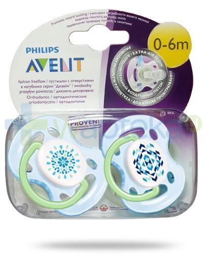 Avent Fashion FreeFlow smoczek gryzak silikonowy ortodontyczny o swobodnym przepływie powietrza dla dzieci 0-6m 2 sztuki [180/23]
