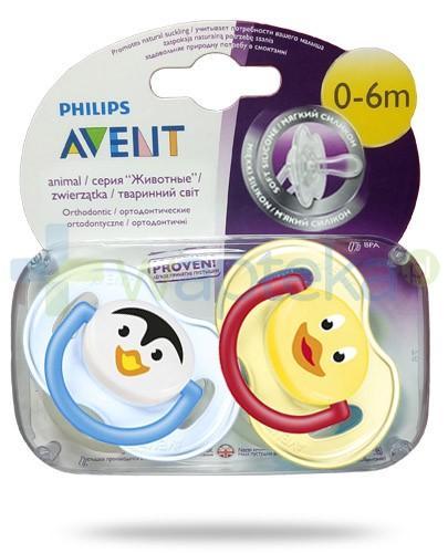 Avent Philips Animal smoczek gryzak silikonowy ortodontyczny dla dzieci 0-6m 2 sztuki [SCF182/23]
