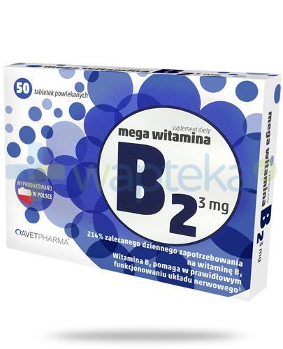 AvetPharma Mega witamina B2 3mg 50 tabletek powlekanych [Data ważności 31-05-2019]