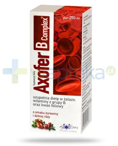 Axofer B Complex płyn o smaku żurawiny i dzikiej róży 250 ml - Data ważności 31-03-2017