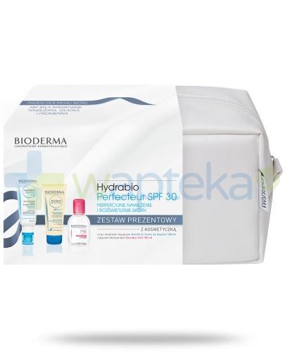 Bioderma Hydrabio Perfecteur SPF30 Krem nawilżający skórę twarzy 40 ml + Atoderm Huile de douche nawilżający olejek do kąpieli i pod prysznic 100 ml + Sensibio H2O Płyn micelarny 100 ml + kosmetyczka [ZESTAW] [ Kup łącznie 5 dermokosmetyków z linii Atoder
