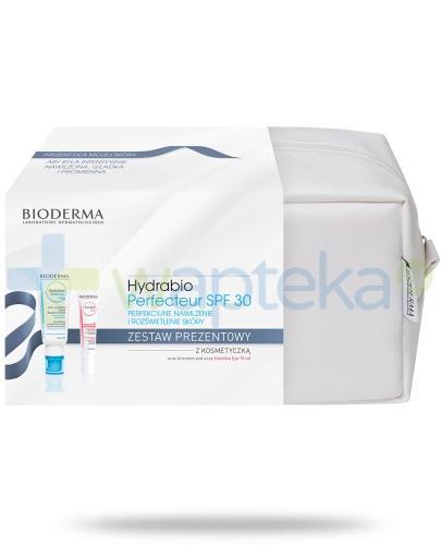 Bioderma Hydrabio Perfecteur SPF30 Krem nawilżający wygładzający i rozświetlający skórę twarzy z filtrem 40 ml + Sensibio Eye Kremowy żel pod oczy 15 ml + kosmetyczka [ZESTAW]